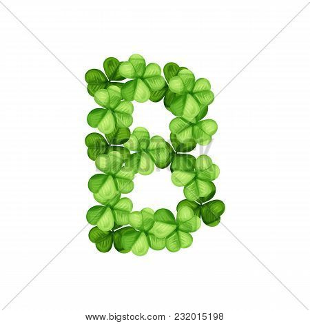 Letter B Clover Ornament Isolated On White Background