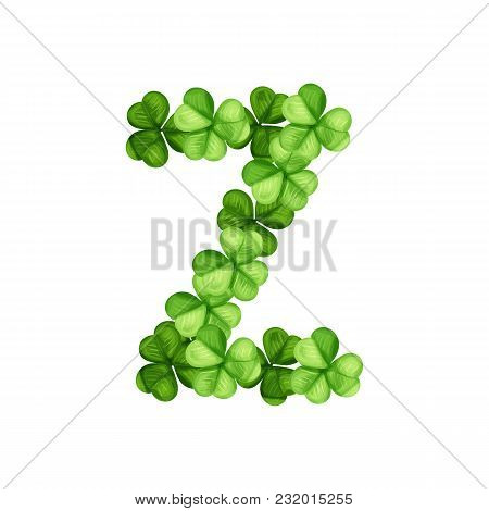 Letter Z Clover Ornament Isolated On White Background
