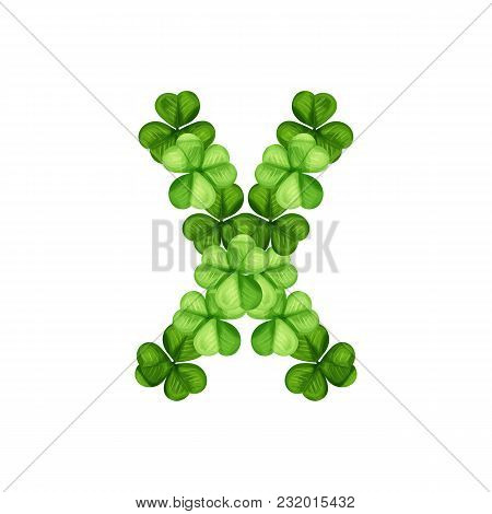 Letter X Clover Ornament Isolated On White Background