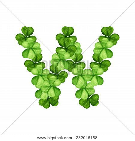 Letter W Clover Ornament Isolated On White Background
