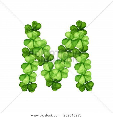 Letter M Clover Ornament Isolated On White Background