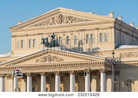 Moscow, Russia - February 13, 2018: Bolshoi Theater In Moscow, Closeup