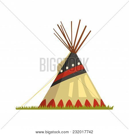 Teepee, Tent Or Wigwam Native American Dwelling Vector Illustration  Isolated On A White Background.