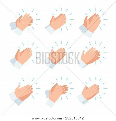 Clapping Hands, Applause Icon Set. Vector Illustration In Flat Style Design, Isolated On White Backg