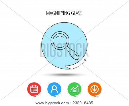 Search Icon. Magnifying Glass Sign. Zoom Symbol. Calendar, User And Business Chart, Download Arrow I