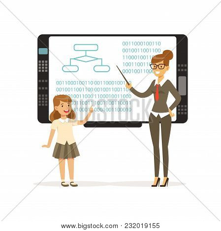 Smiling Teacher Woman Teaching Girl With An Interactive Board, Informatics Lesson At School Vector I