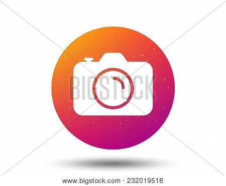 Camera Icon. Professional Photocamera Symbol. Circle Button With Soft Color Gradient Background. Vec
