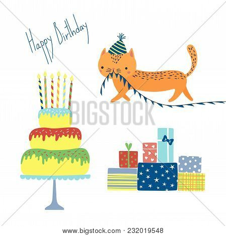 Hand Drawn Happy Birthday Greeting Card With Cute Funny Cartoon Cat With A In A Party Hat, Cake, Pre
