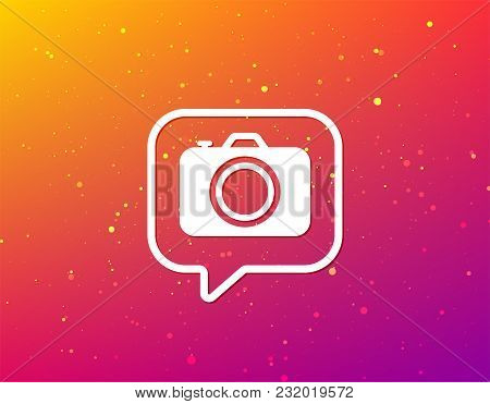 Camera Icon. Professional Photocamera Symbol. Soft Color Gradient Background. Speech Bubble With Fla