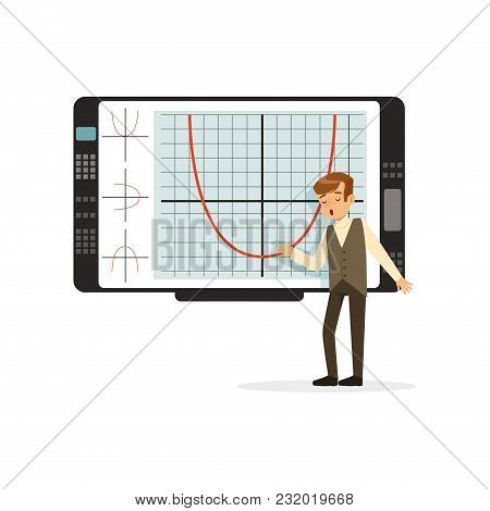 Schoolboy Working With An Interactive Whiteboard At Lesson At School Vector Illustration Isolated On