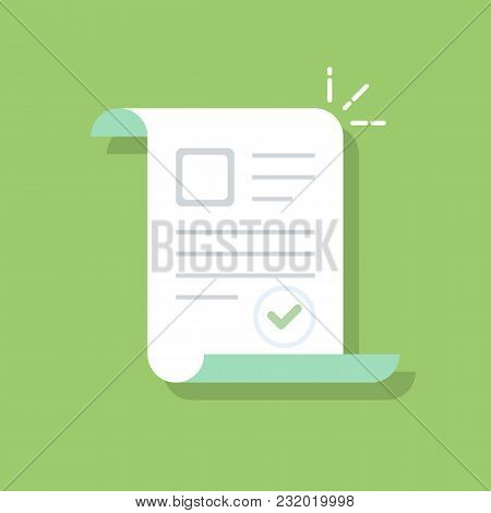 Documents Icon. Confirmed Or Approved Document. Flat Illustration Isolated On Color Background