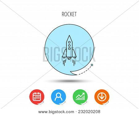 Rocket Icon. Startup Business Sign. Spaceship Shuttle Symbol. Calendar, User And Business Chart, Dow