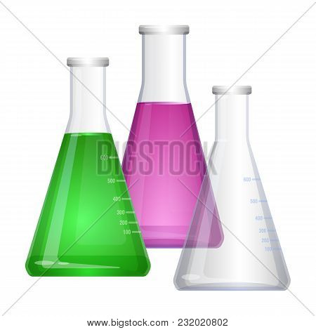 Erlenmeyer Conical, Flat-bottomed Laboratory Flask With Narrow Neck. Colorful Liquids In Flasks And