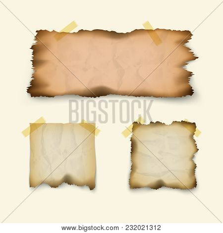 Note Paper. Crumpled, Burnt, Old Texture, Scraps Of Square And Rectangular Shapes, Isolated On White