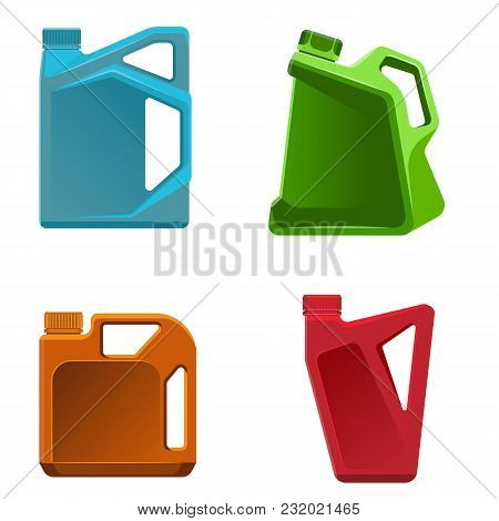 Engine Oil Bottle Vector Illustration Of Different Color Containers For Storage Liquid Petrol Vector
