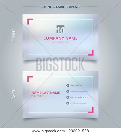 Creative Business Card And Name Card Template Blurred Background With Pink Border. Abstract Concept