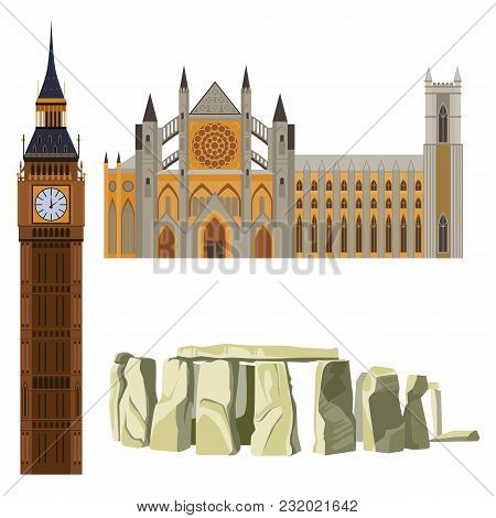 Sightseeing Of Great Britain Westminster Abbey, Big Ben, Stonehenge Vector Illustration Of Symbols O