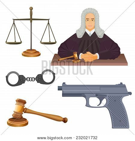Enforcement Agencies Conceptual Vector Illustration Of Judge In Robes, Scales Symbol Of Justice, Woo