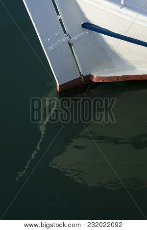 Part Of White Boat In The Sea.