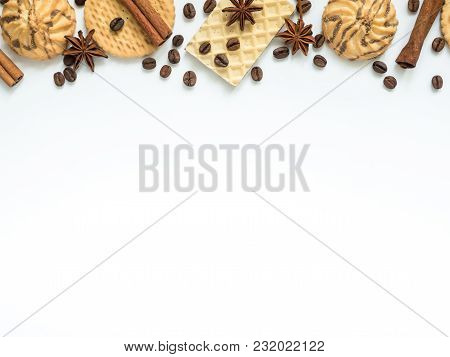 Assorted Cookie Wafer Cinnamon Coffee Frame On White.