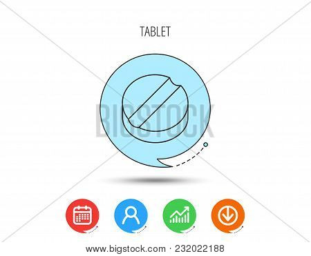 Tablet Icon. Medicine Drug Sign. Pharmaceutical Cure Symbol. Calendar, User And Business Chart, Down