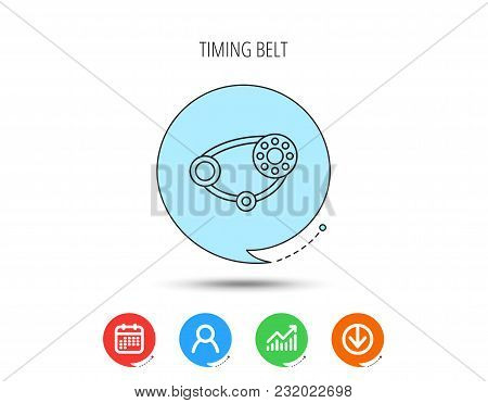 Timing Belt Icon. Generator Strap Sign. Repair Service Symbol. Calendar, User And Business Chart, Do