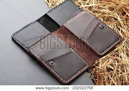 Set Of Two Brown And And Black Card Holder. Hand Made Leather Man Card Holder. Multi Colored. Leathe
