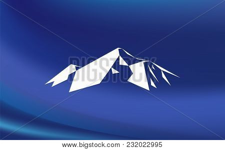 Snow Mountains Peak (everest) Logo. Much White Triangles. Blue Background. Can Be Used As Sports Bad