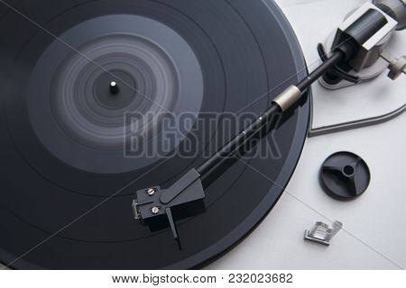 Turntable, Record-player Of Vinyl Disks Close-up, View From Above