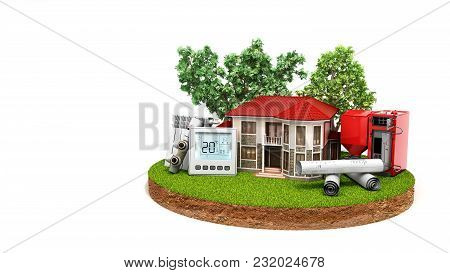 Concept Of Energy Saving House On A Piece Of Land Near Wood Boiler Batteries Thermostat Temperature