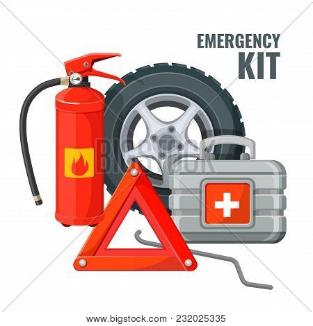 Emergency First Aid Kit In Car And Necessary Auto Service Equipment Vector. Fire Extinguisher, Emerg