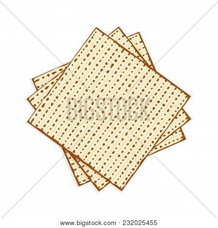 Matzah Or Matzo, Unleavened Bread For Pesach, Jewish Holiday Of Passover, Isolated On White Backgrou