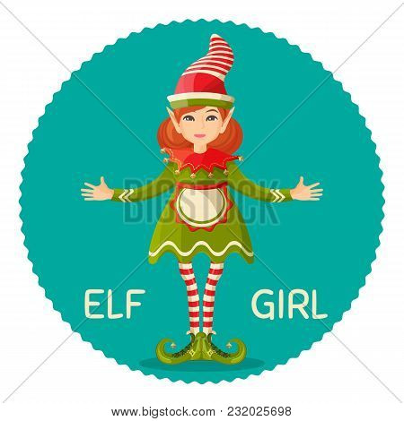 Elf Girl Human-shaped Supernatural Female Being In Green Apparel Dress And Apron, Cute Conus Shape H