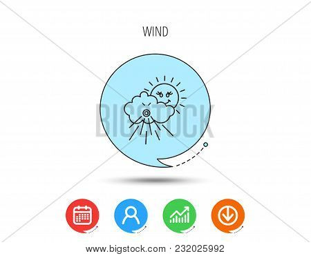 Wind Icon. Cloud With Sun And Storm Sign. Strong Wind Or Tempest Symbol. Calendar, User And Business