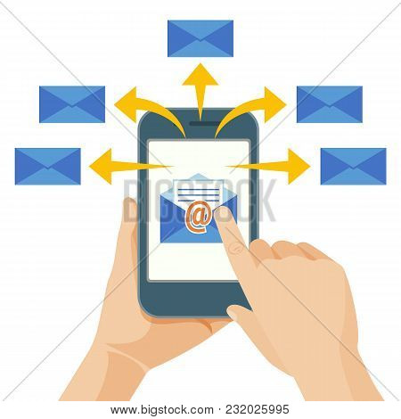 Hand Sending Commercial Message From Mobile Phone To Group Of People, Using Electronic Mail. Person