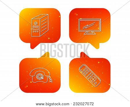 Tv Remote, Retro Phone And Tv Remote Icons. Widescreen Tv Linear Sign. Orange Speech Bubbles With Ic