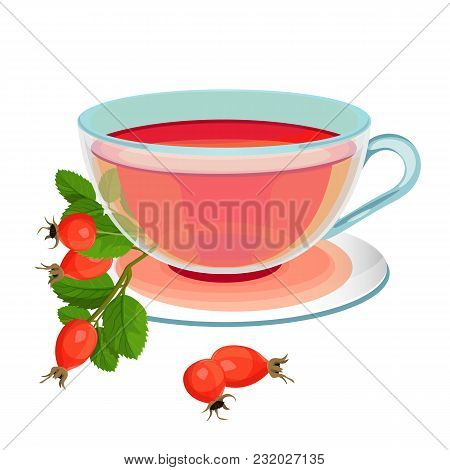 Tea With Rose Hips In Transparent Glass Mug And Saucer. Briar Branch With Green Leaves And Cup Of Ho