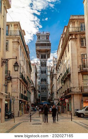 Lisbon , Portugal - February 6: The Elevador De Santa Justa Is A 19th Century Lift That Transports P