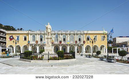 Greece, Zakynthos Island, Zakynthos - June 17, 2016: Monument To The National Poet Dionysus Solomos