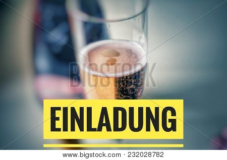 Champagne Glass With Fine Champagne And Inscription In Yellow In German Einladung Zum Firmenfest, In