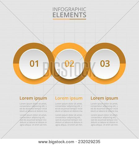 Step By Step Infographic. Orange Template With 3 Numbers Can Be Used For Workflow Layout, Diagram, C