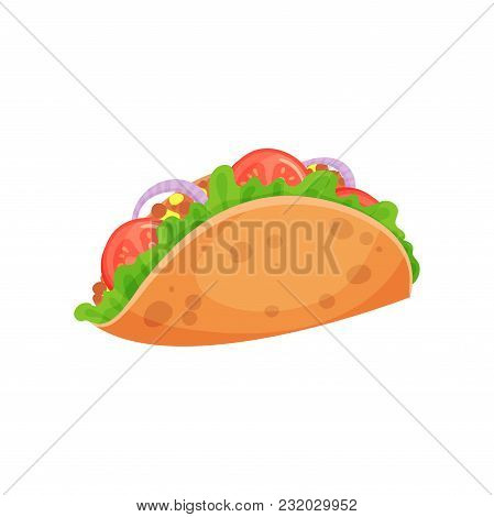 Mexican Taco With Meat And Fresh Vegetables, Crispy Corn Tortilla Filled With Meat, Tomato, Pepper A