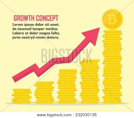 Bitcoin Growth Concept. Bitcoin Revenue Illustration. Stacks Of Gold Coins Like Income Graph With Bi