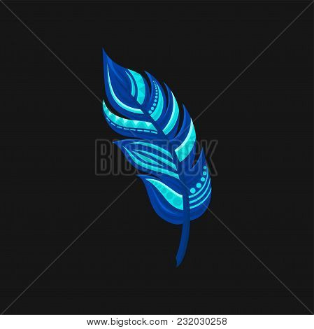 Beautiful Bright Abstract Blue Feather Vector Illustration Isolated On A Black Background.