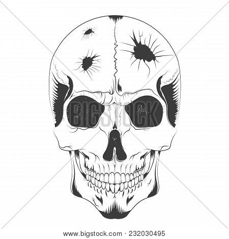 Vector Illustration Of A Skull Sketch With Holes Of Different Diameters In The Head. T-shirt Design,