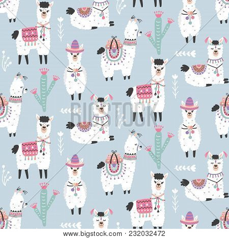 Cartoon Llama Alpaca Seamless Pattern. Hand Drawn Elements. Nursery Childish  Textile, Wallpaper. Ve