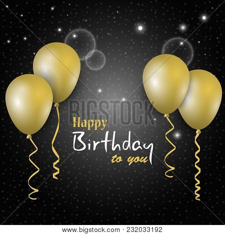 Birthday Dark Poster With Golden Balloons In The Background Vector Eps 10