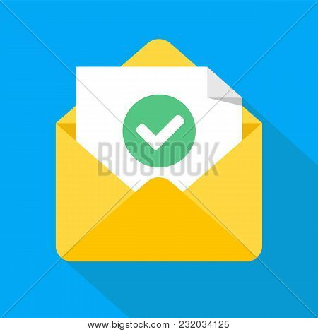 Envelope With Document And Round Green Check Mark Icon. Successful E-mail Delivery, Email Delivery C