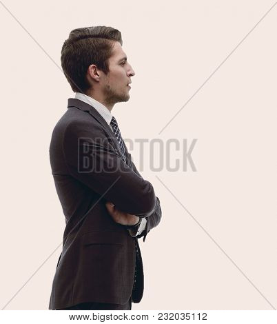 side view. in full growth.confident businessman