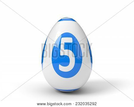 Easter Egg Painted As Lottery Ball. Isolated On White. 3d Illustration